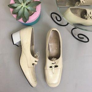 True Vintage Lad Up Square Toe Block Heel Loafer